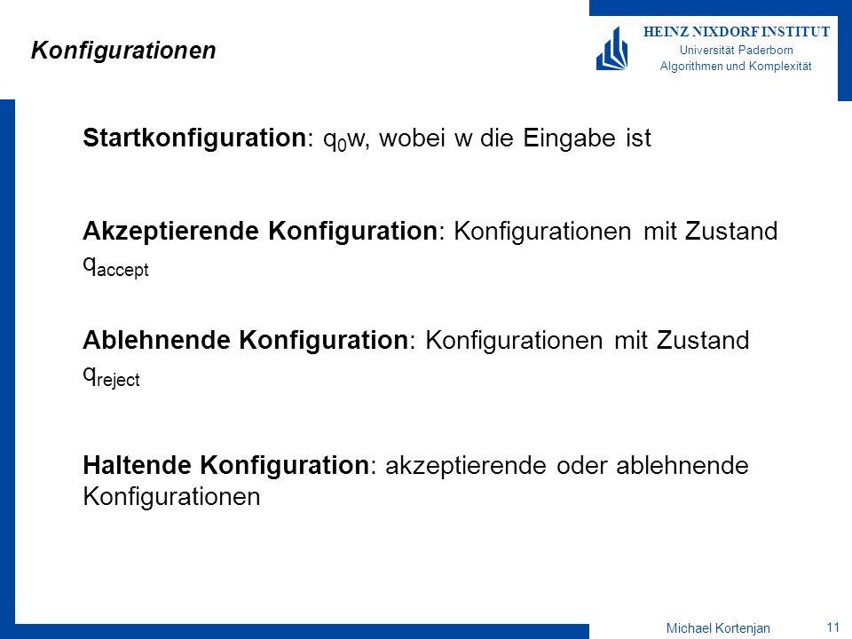 Michael Kortenjan 11 HEINZ NIXDORF INSTITUT Universität Paderborn Algorithmen und Komplexität Konfigurationen Startkonfiguration: q 0 w, wobei w die Eingabe ist Akzeptierende Konfiguration: Konfigurationen mit Zustand q accept Ablehnende Konfiguration: Konfigurationen mit Zustand q reject Haltende Konfiguration: akzeptierende oder ablehnende Konfigurationen