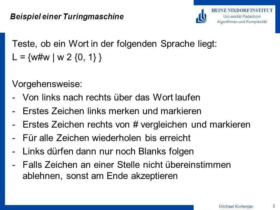 Michael Kortenjan 16 HEINZ NIXDORF INSTITUT Universität Paderborn Algorithmen und Komplexität Beispiel Darstellung von  als Diagramm