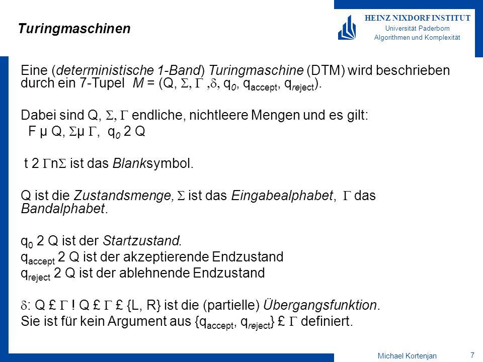Michael Kortenjan 38 HEINZ NIXDORF INSTITUT Universität Paderborn Algorithmen und Komplexität Abarbeitung eines Beispielworts Beispiel für das Wort: 0000 txxxtt q2q2