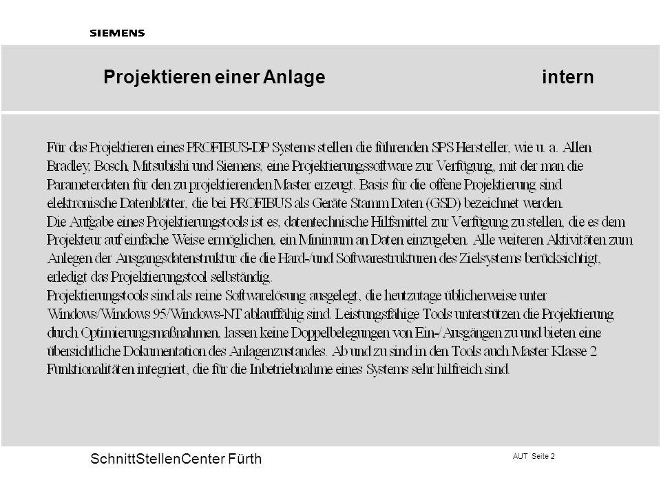 AUT Seite 2 20 SchnittStellenCenter Fürth Projektieren einer Anlageintern