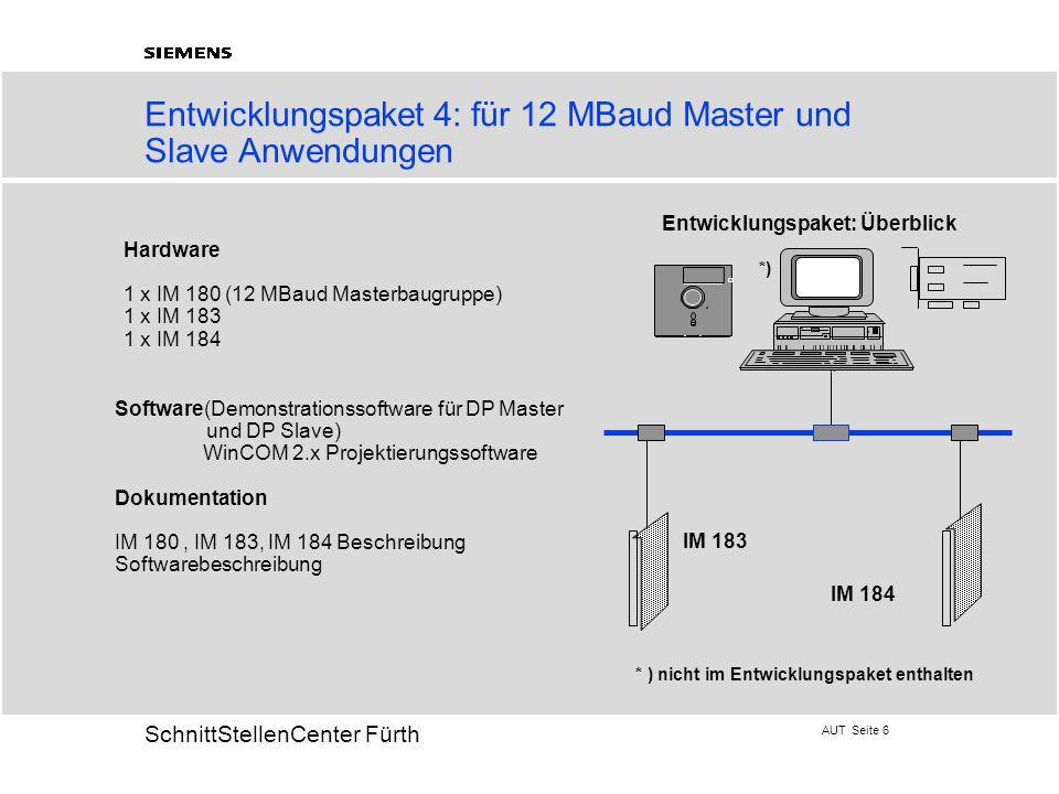 AUT Seite 6 20 SchnittStellenCenter Fürth Entwicklungspaket 4: für 12 MBaud Master und Slave Anwendungen Hardware 1 x IM 180 (12 MBaud Masterbaugruppe