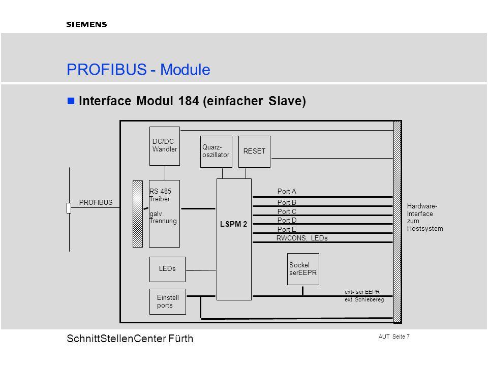 AUT Seite 7 20 SchnittStellenCenter Fürth PROFIBUS - Module Interface Modul 184 (einfacher Slave) LSPM 2 Quarz- oszillator RESET RS 485 Treiber galv.