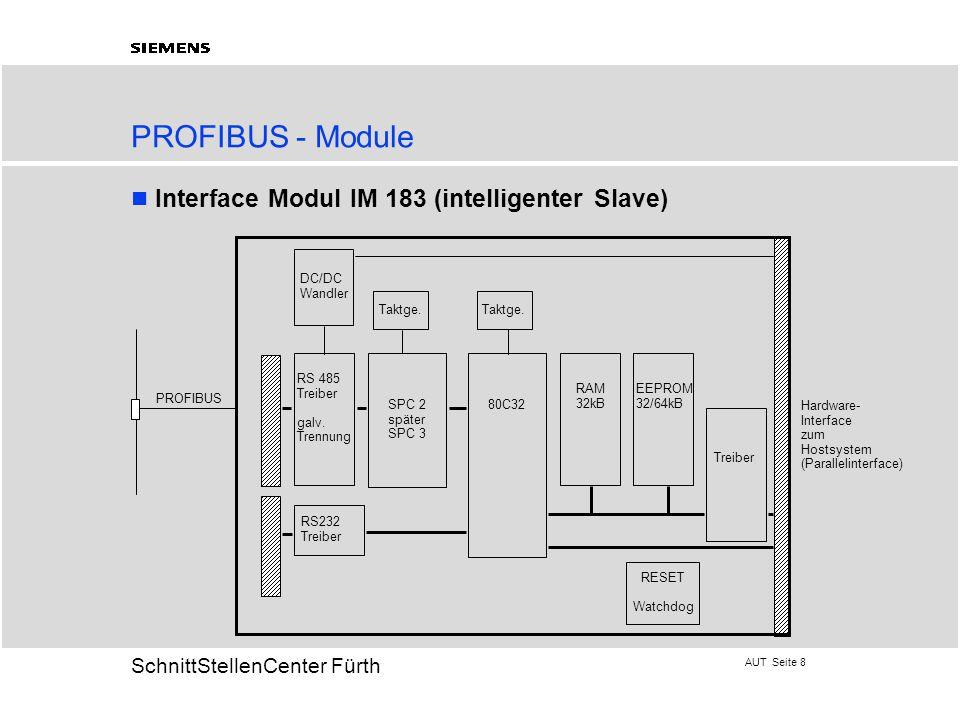 AUT Seite 8 20 SchnittStellenCenter Fürth PROFIBUS - Module Interface Modul IM 183 (intelligenter Slave) RS 485 Treiber galv. Trennung DC/DC Wandler R