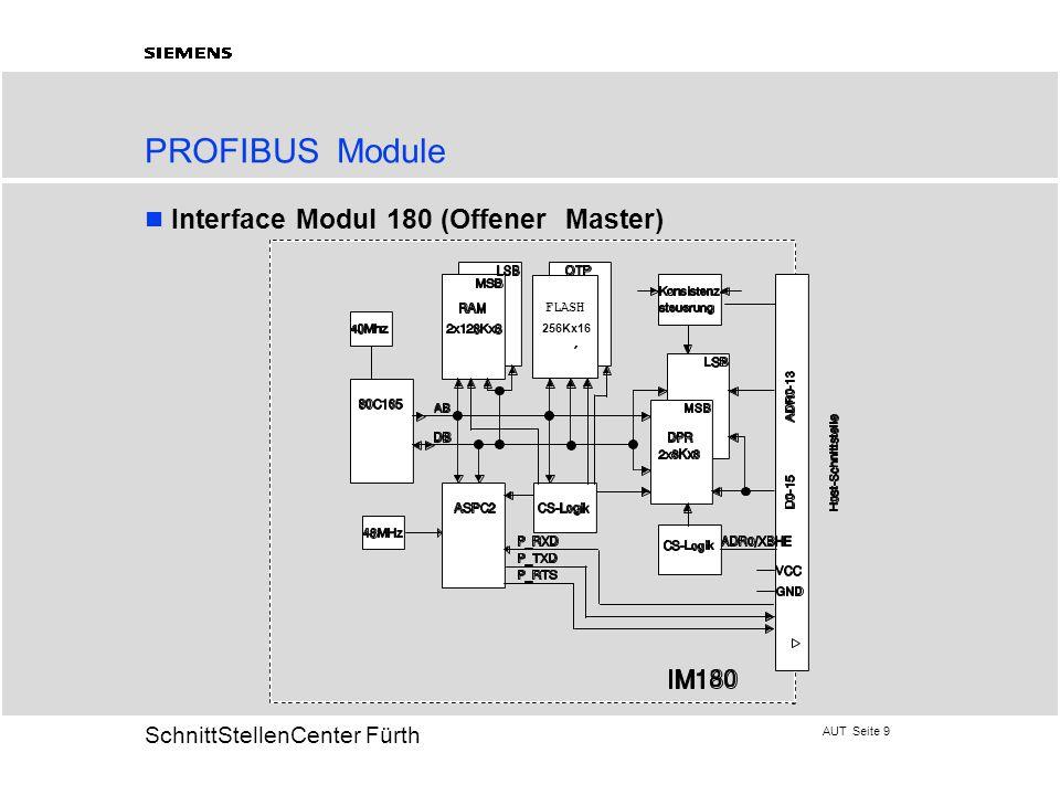 AUT Seite 9 20 SchnittStellenCenter Fürth PROFIBUS Module Interface Modul 180 (Offener Master)