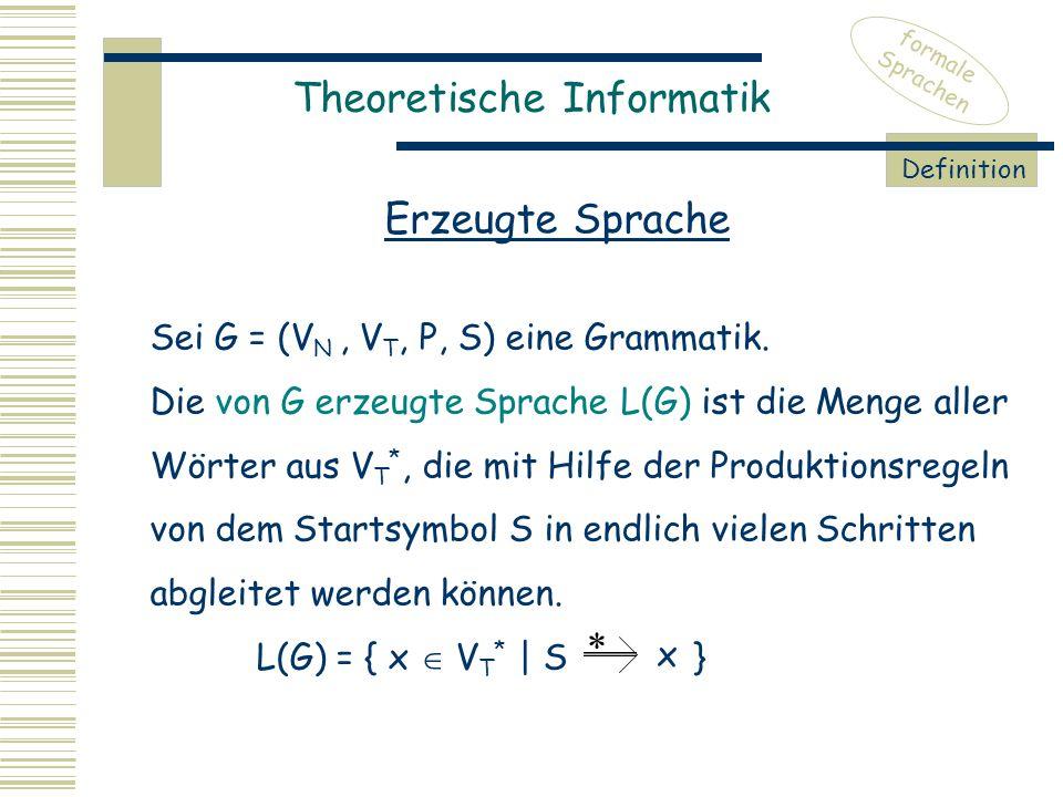Theoretische Informatik formale Sprachen Erzeugte Sprache Definition Sei G = (V N, V T, P, S) eine Grammatik.
