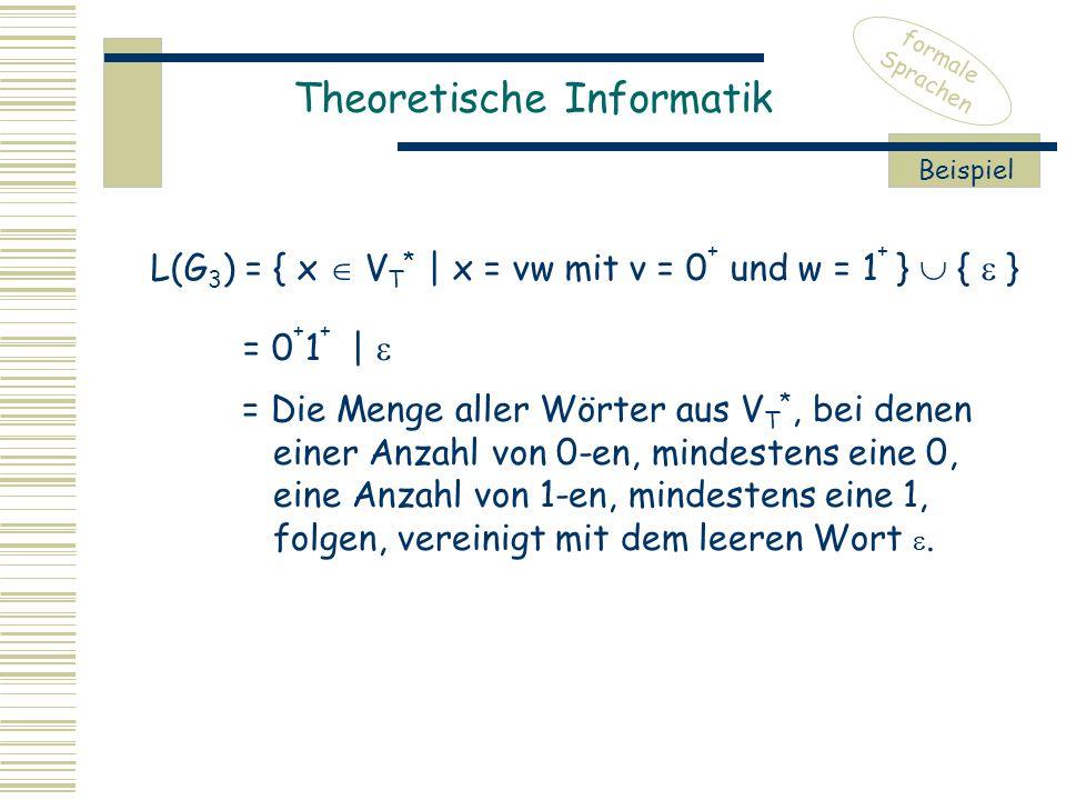 Theoretische Informatik formale Sprachen Beispiel L(G 3 ) = { x  V T * | x = vw mit v = 0 + und w = 1 + }  {  } = 0 + 1 + |  = Die Menge aller Wörter aus V T *, bei denen einer Anzahl von 0-en, mindestens eine 0, eine Anzahl von 1-en, mindestens eine 1, folgen, vereinigt mit dem leeren Wort .