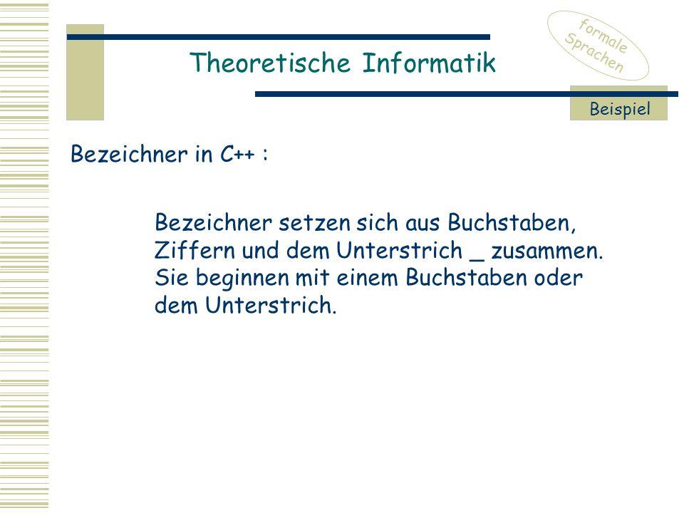 Theoretische Informatik formale Sprachen Beispiel Bezeichner setzen sich aus Buchstaben, Ziffern und dem Unterstrich _ zusammen.