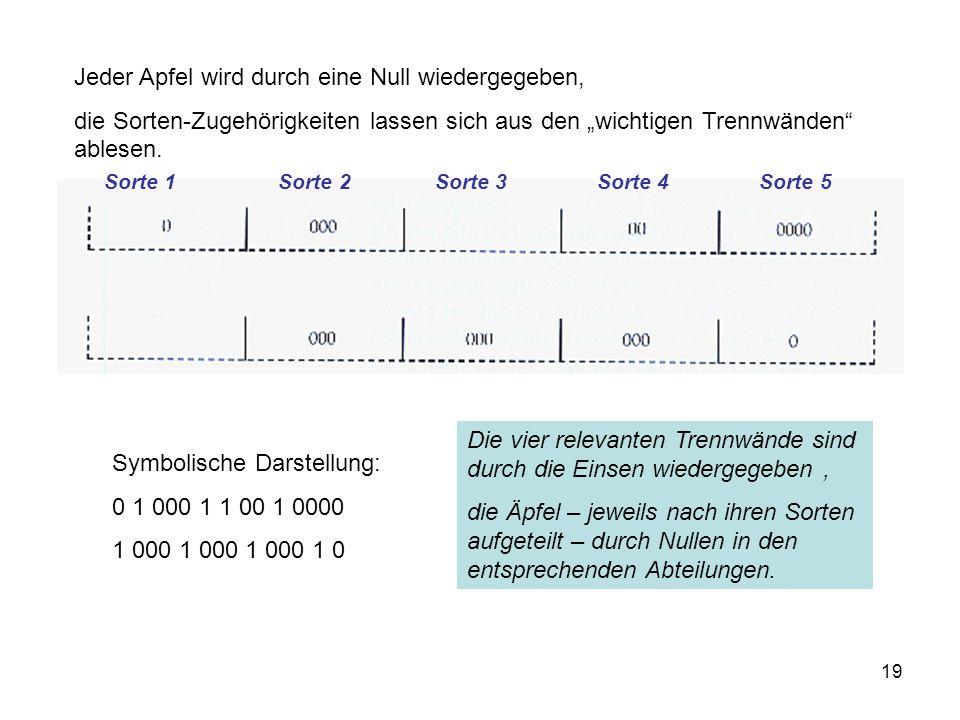 """19 Jeder Apfel wird durch eine Null wiedergegeben, die Sorten-Zugehörigkeiten lassen sich aus den """"wichtigen Trennwänden"""" ablesen. Symbolische Darstel"""