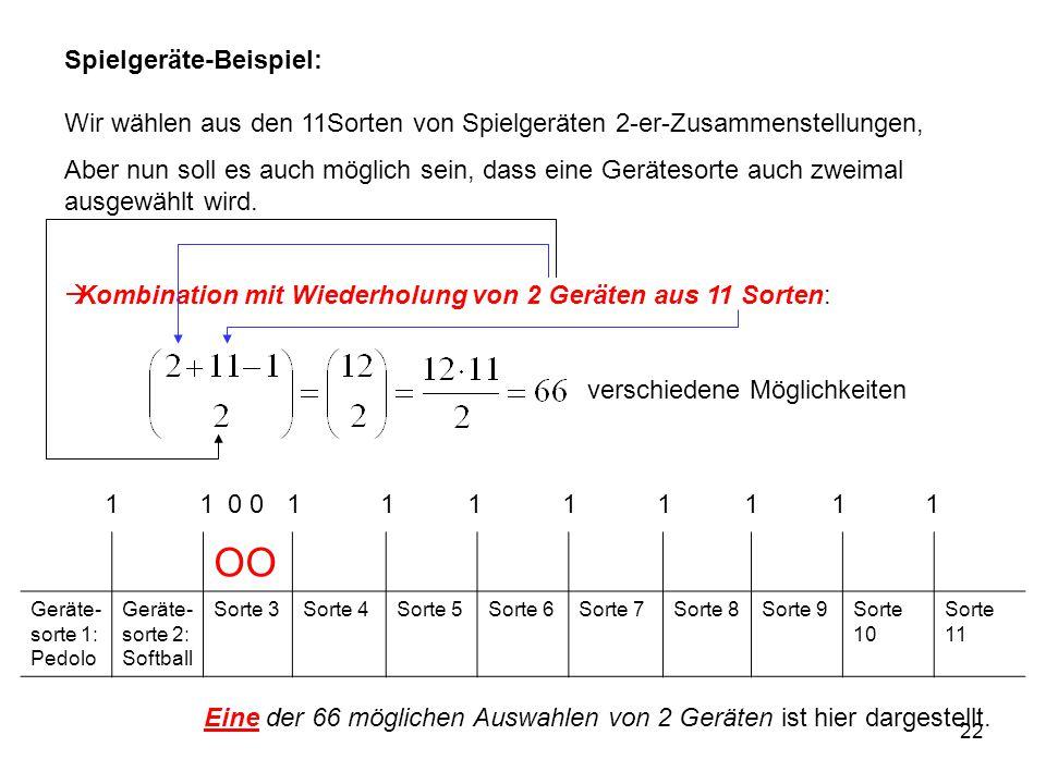 22 Spielgeräte-Beispiel: Wir wählen aus den 11Sorten von Spielgeräten 2-er-Zusammenstellungen, Aber nun soll es auch möglich sein, dass eine Gerätesor