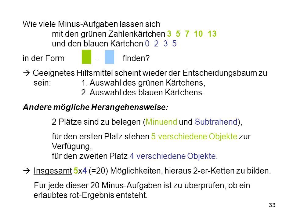 33 Wie viele Minus-Aufgaben lassen sich mit den grünen Zahlenkärtchen 3 5 7 10 13 und den blauen Kärtchen 0 2 3 5 in der Form - finden?  Geeignetes H