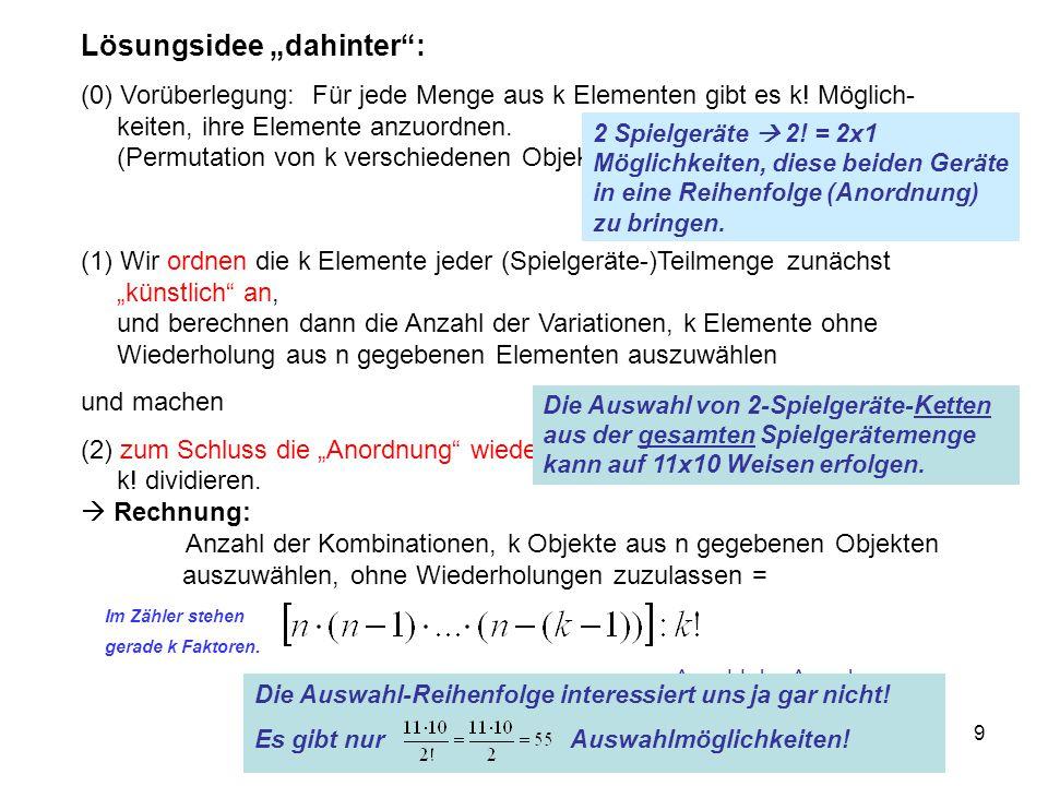 """9 Lösungsidee """"dahinter"""": (0) Vorüberlegung: Für jede Menge aus k Elementen gibt es k! Möglich- keiten, ihre Elemente anzuordnen. (Permutation von k v"""