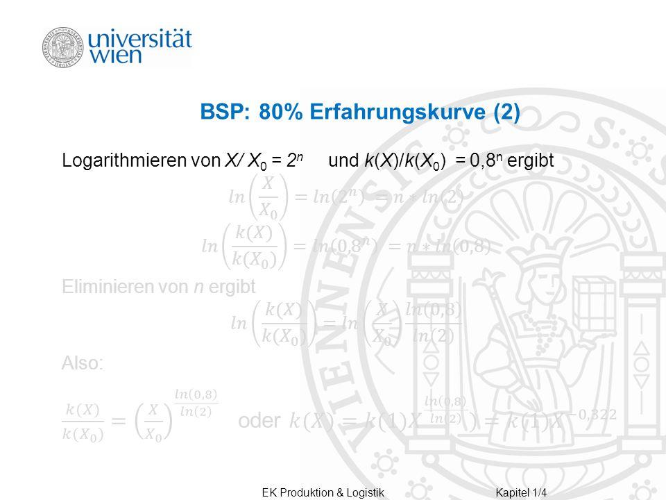 EK Produktion & LogistikKapitel 1/4 BSP: 80% Erfahrungskurve (2)