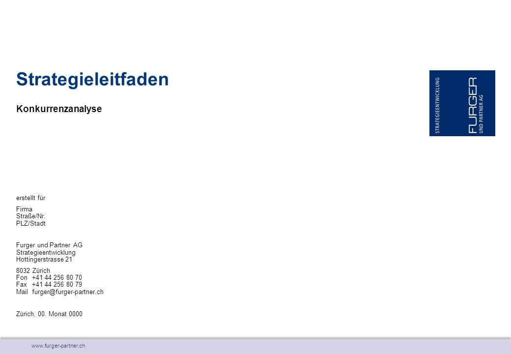 www.furger-partner.ch Konkurrenzanalyse Strategieleitfaden erstellt für Firma Straße/Nr. PLZ/Stadt Furger und Partner AG Strategieentwicklung Hottinge