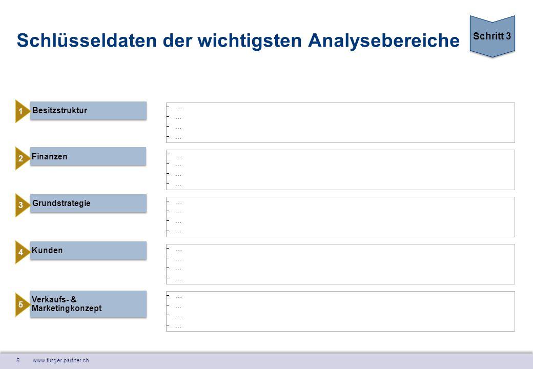 5 www.furger-partner.ch Schlüsseldaten der wichtigsten Analysebereiche Besitzstruktur …………………… Kunden Finanzen Verkaufs- & Marketingkonzept Gr