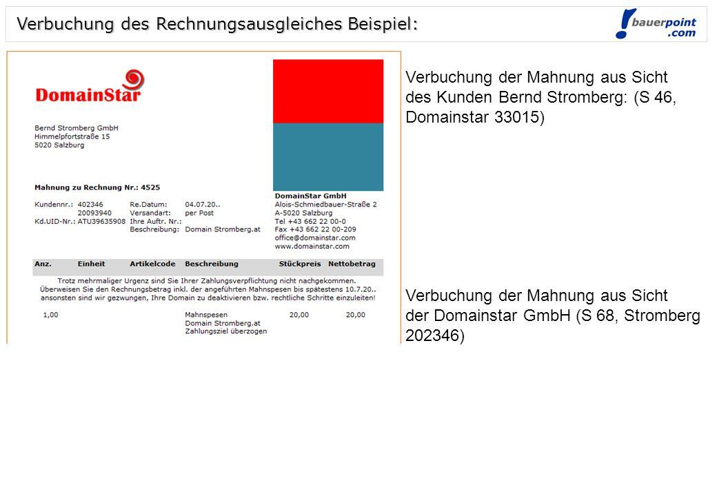 Folie 3 © bauerpoint.com Verbuchung des Rechnungsausgleiches Beispiel: Verbuchung der Rechnung aus Sicht des Kunden Bernd Stromberg: (E250, Domainstar