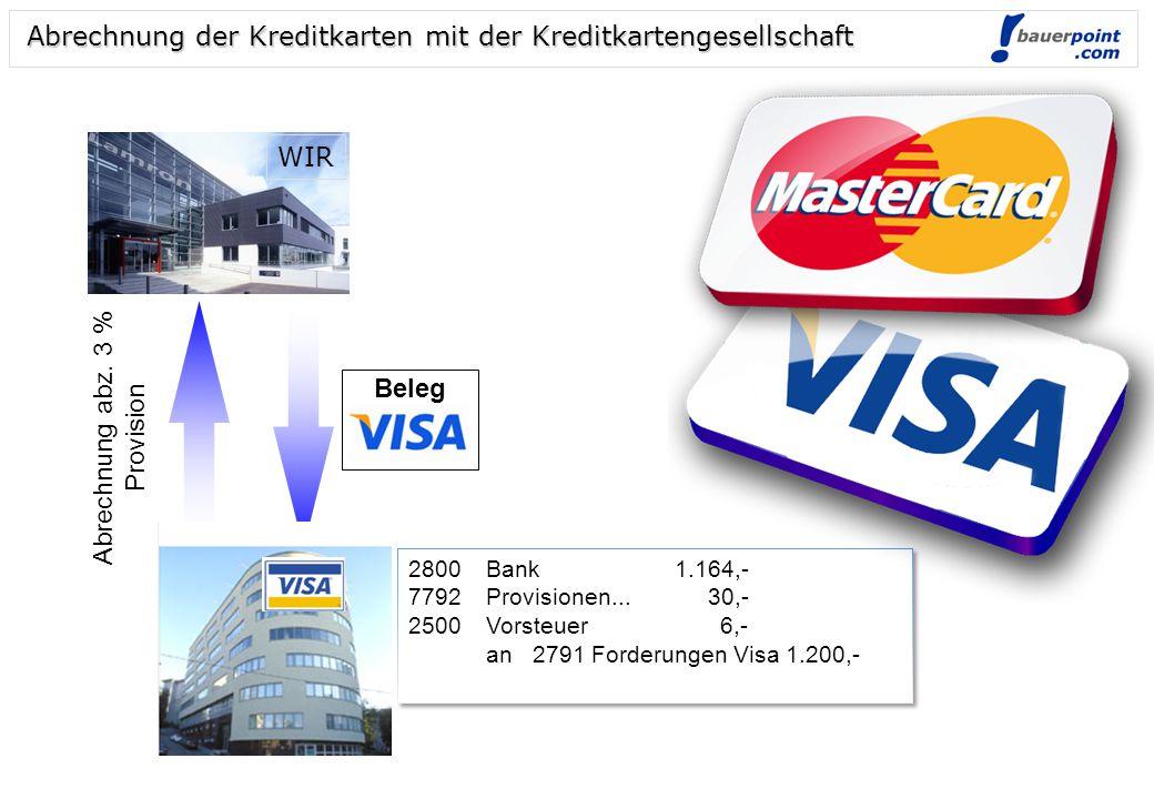 Warenverkauf gegen Kreditkarte: € 1.200,- inkl. 20 % USt 2791 Forderungen Visa1.200,- an 4000 HW-Erlöse1.000,- 3500 UST 200,- 2791 Forderungen Visa1.2