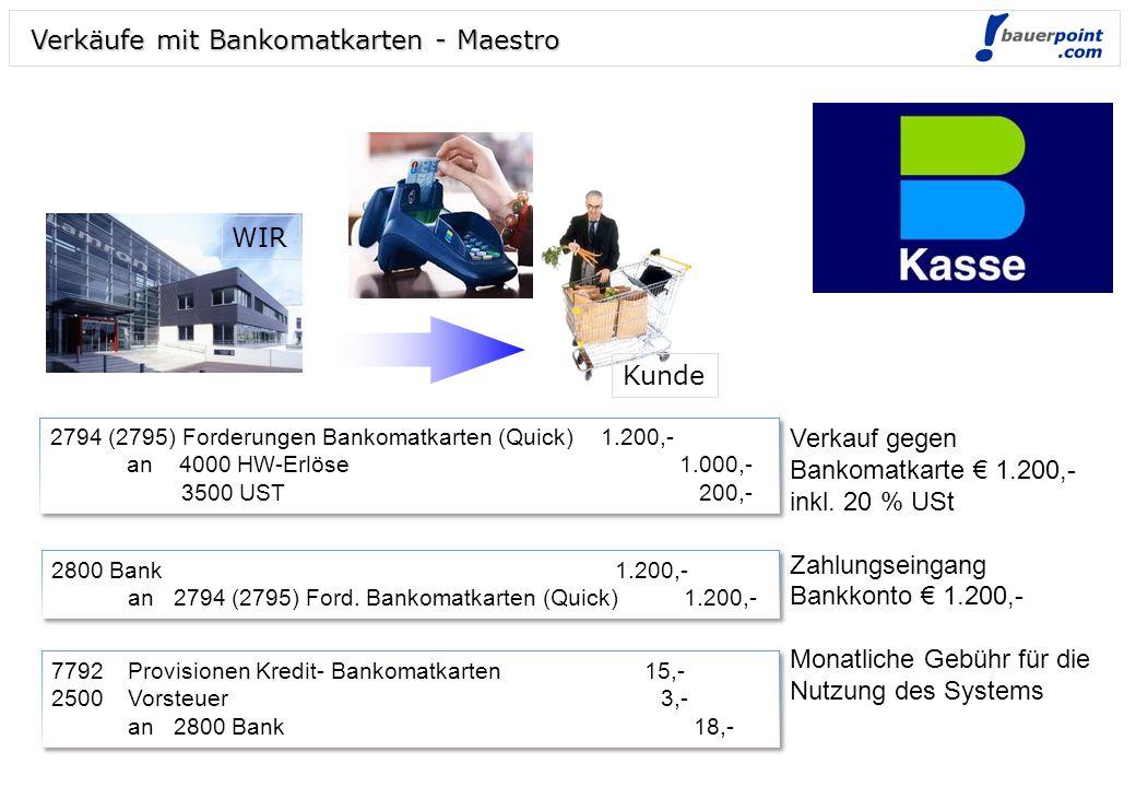 Abrechnung abz. 3 % Provision 2800 Bank1.164,- 7792Provisionen... 30,- 2500 Vorsteuer 6,- an 2791 Forderungen Visa 1.200,- 2800 Bank1.164,- 7792Provis