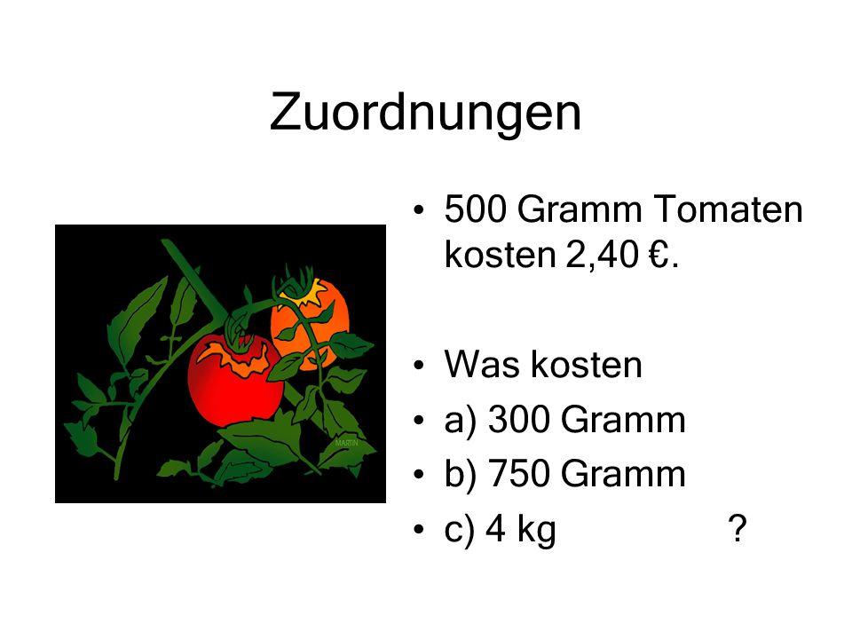 Zuordnungen 500 Gramm Tomaten kosten 2,40 €. Was kosten a) 300 Gramm b) 750 Gramm c) 4 kg ?
