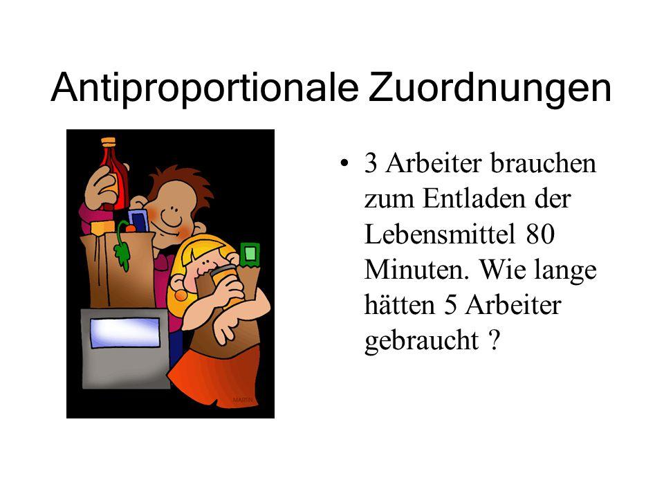 Antiproportionale Zuordnungen 3 Arbeiter brauchen zum Entladen der Lebensmittel 80 Minuten. Wie lange hätten 5 Arbeiter gebraucht ?