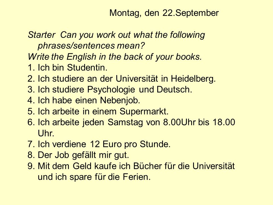 Homework German Learning homework.Learn what things you have to do in different jobs.