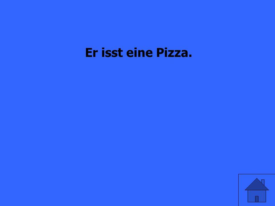 He eats a pizza.