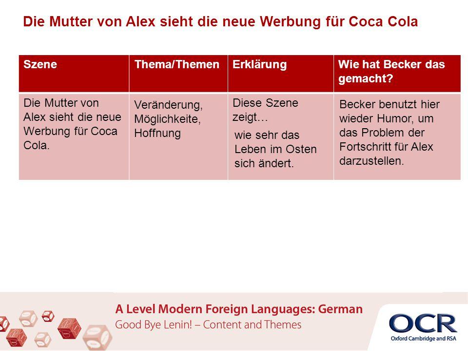 SzeneThema/ThemenErklärungWie hat Becker das gemacht? Die Mutter von Alex sieht die neue Werbung für Coca Cola. Diese Szene zeigt… Veränderung, Möglic