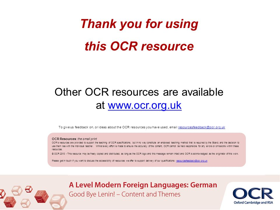 Thank you for using this OCR resource Other OCR resources are available at www.ocr.org.ukwww.ocr.org.uk OCR Resources: the small print OCR's resources