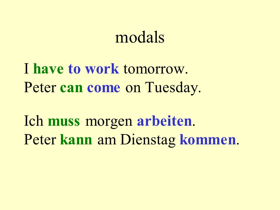 modals I have to work tomorrow.Peter can come on Tuesday.