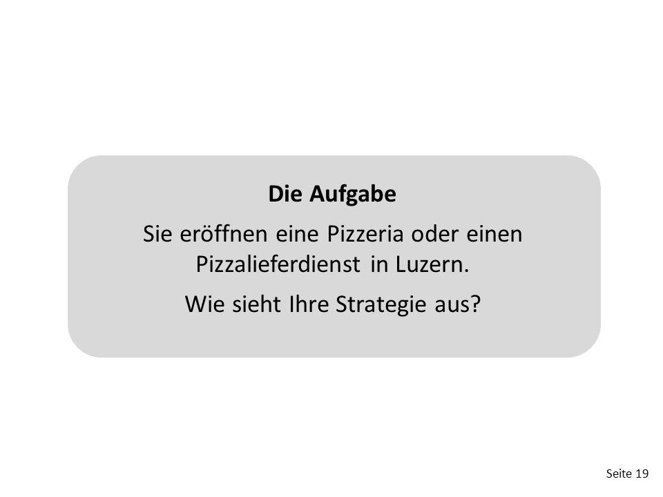 Seite 19 Die Aufgabe Sie eröffnen eine Pizzeria oder einen Pizzalieferdienst in Luzern. Wie sieht Ihre Strategie aus?