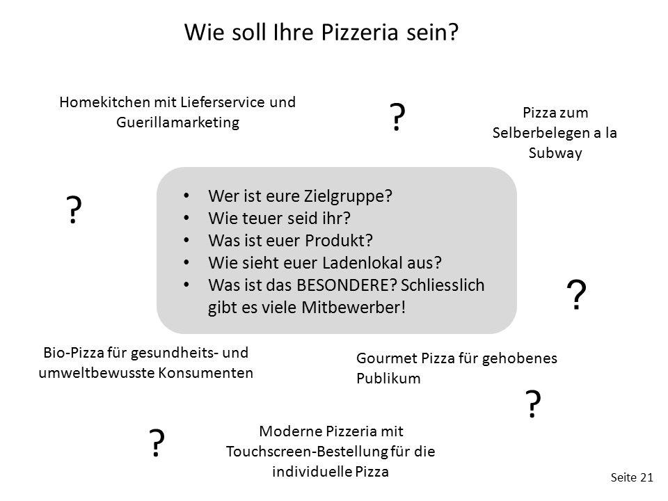 Seite 21 Gourmet Pizza für gehobenes Publikum Homekitchen mit Lieferservice und Guerillamarketing Bio-Pizza für gesundheits- und umweltbewusste Konsum