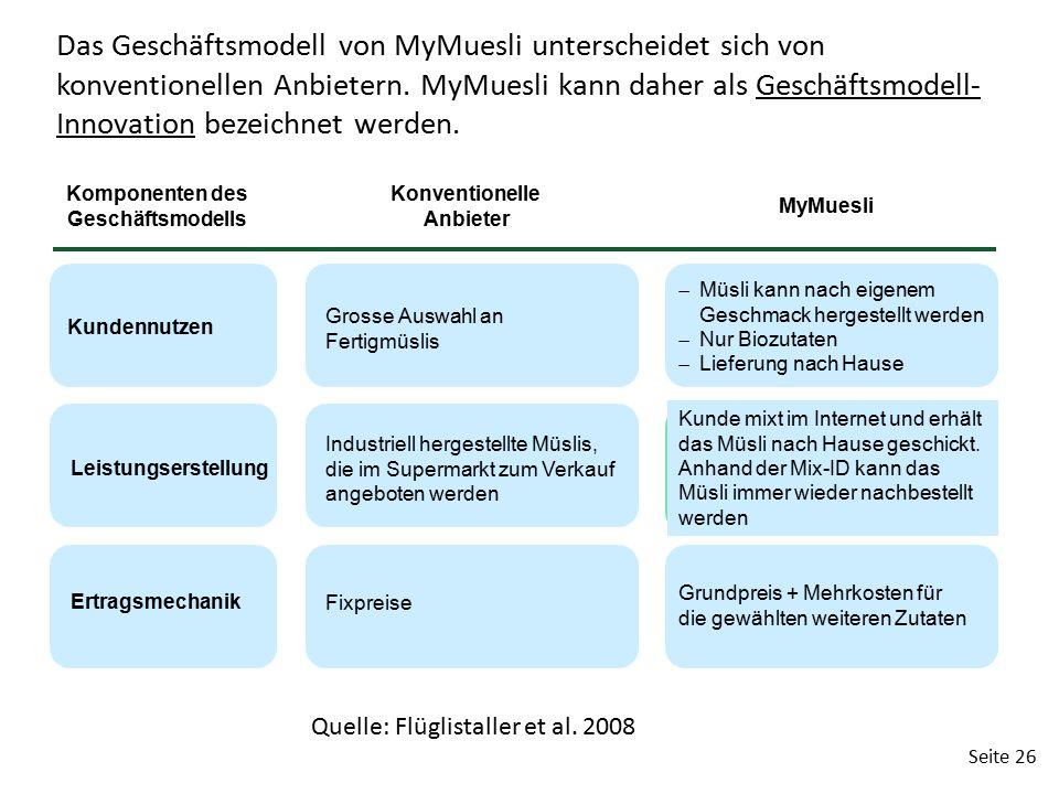 Seite 26 Das Geschäftsmodell von MyMuesli unterscheidet sich von konventionellen Anbietern. MyMuesli kann daher als Geschäftsmodell- Innovation bezeic