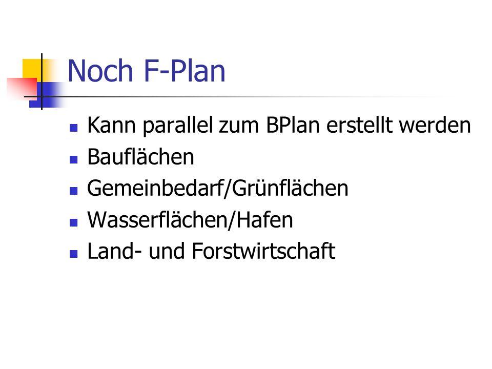 Noch F-Plan Kann parallel zum BPlan erstellt werden Bauflächen Gemeinbedarf/Grünflächen Wasserflächen/Hafen Land- und Forstwirtschaft
