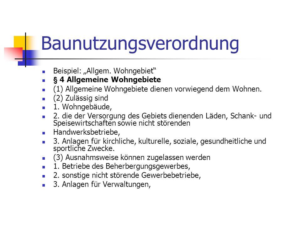 """Baunutzungsverordnung Beispiel: """"Allgem. Wohngebiet"""" § 4 Allgemeine Wohngebiete (1) Allgemeine Wohngebiete dienen vorwiegend dem Wohnen. (2) Zulässig"""