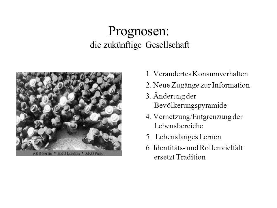 Prognosen: die zukünftige Gesellschaft 1. Verändertes Konsumverhalten 2. Neue Zugänge zur Information 3. Änderung der Bevölkerungspyramide 4. Vernetzu