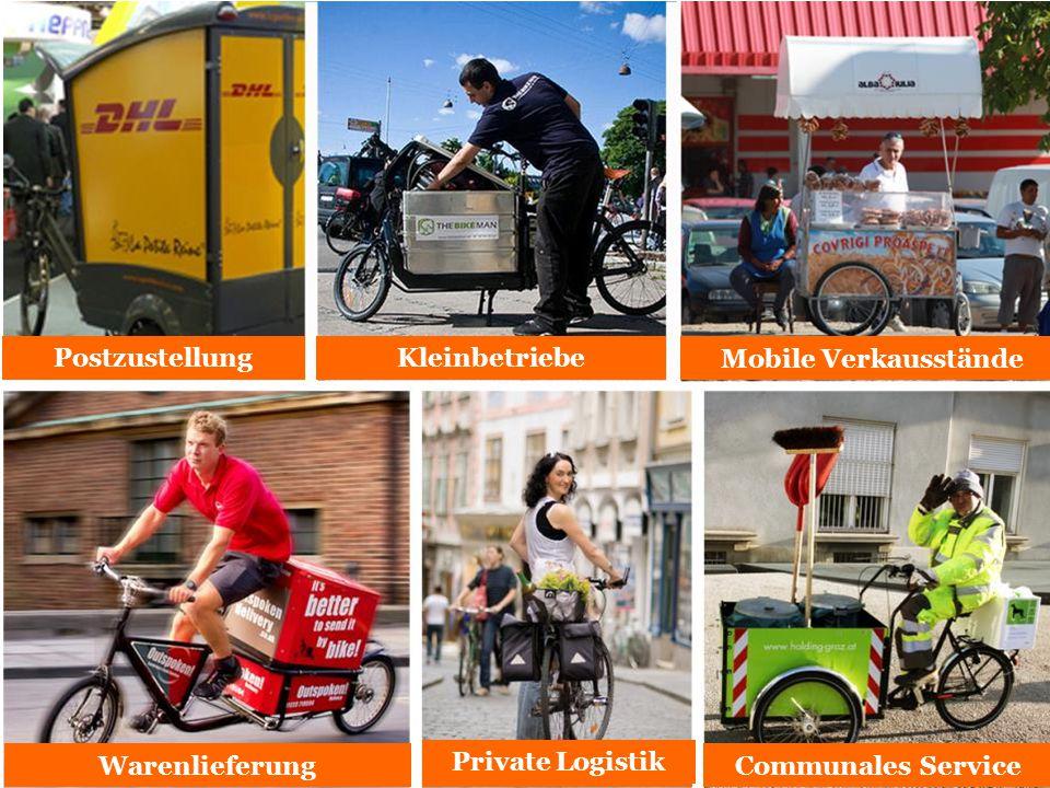 Mobile Verkausstände Postzustellung Warenlieferung Private Logistics Kleinbetriebe Communales Service Private Logistik