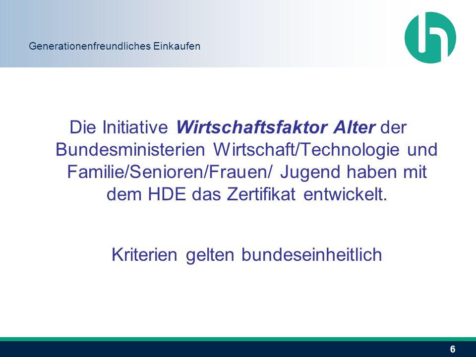 6 Generationenfreundliches Einkaufen Die Initiative Wirtschaftsfaktor Alter der Bundesministerien Wirtschaft/Technologie und Familie/Senioren/Frauen/