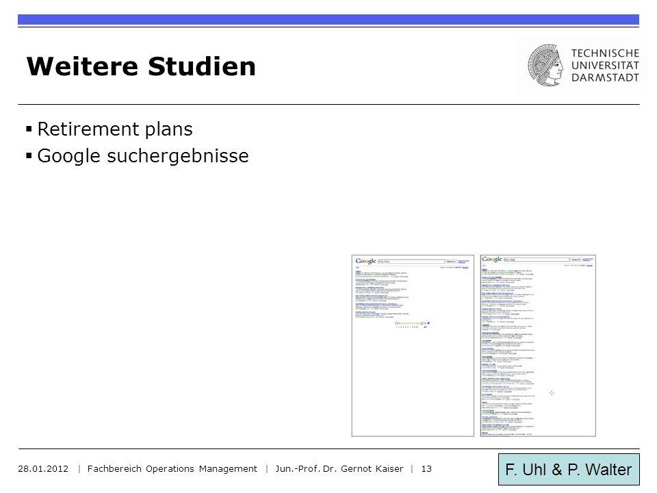 F. Uhl & P. Walter Weitere Studien  Retirement plans  Google suchergebnisse 28.01.2012 | Fachbereich Operations Management | Jun.-Prof. Dr. Gernot K