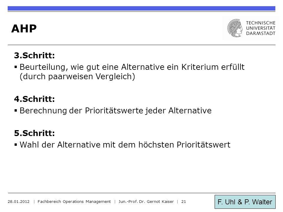 F. Uhl & P. Walter AHP 3.Schritt:  Beurteilung, wie gut eine Alternative ein Kriterium erfüllt (durch paarweisen Vergleich) 4.Schritt:  Berechnung d