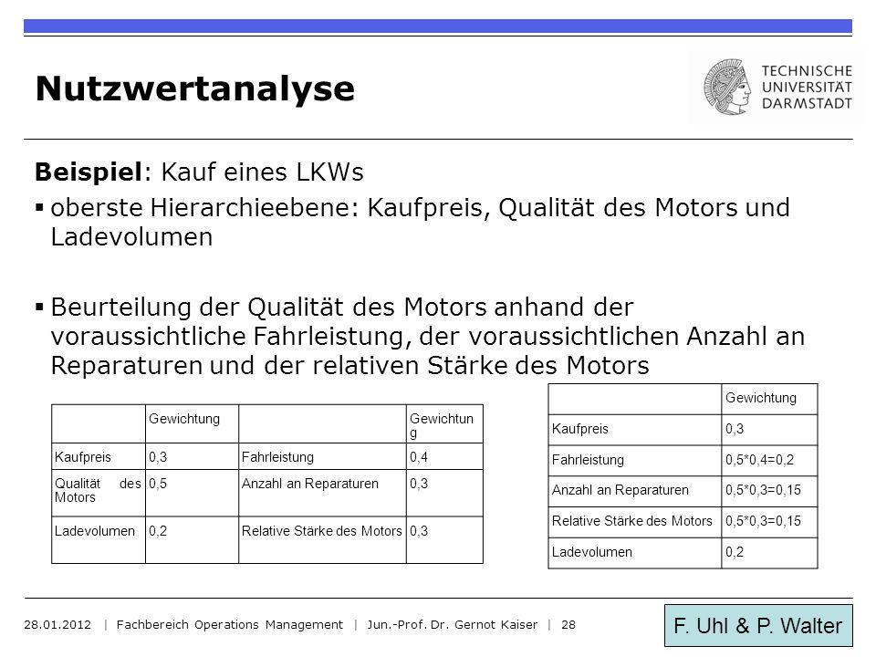 F. Uhl & P. Walter Nutzwertanalyse Beispiel: Kauf eines LKWs  oberste Hierarchieebene: Kaufpreis, Qualität des Motors und Ladevolumen  Beurteilung d