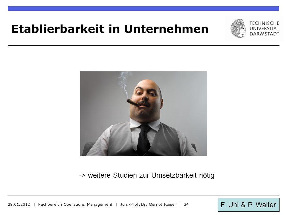 F. Uhl & P. Walter Etablierbarkeit in Unternehmen 28.01.2012 | Fachbereich Operations Management | Jun.-Prof. Dr. Gernot Kaiser | 34 -> weitere Studie