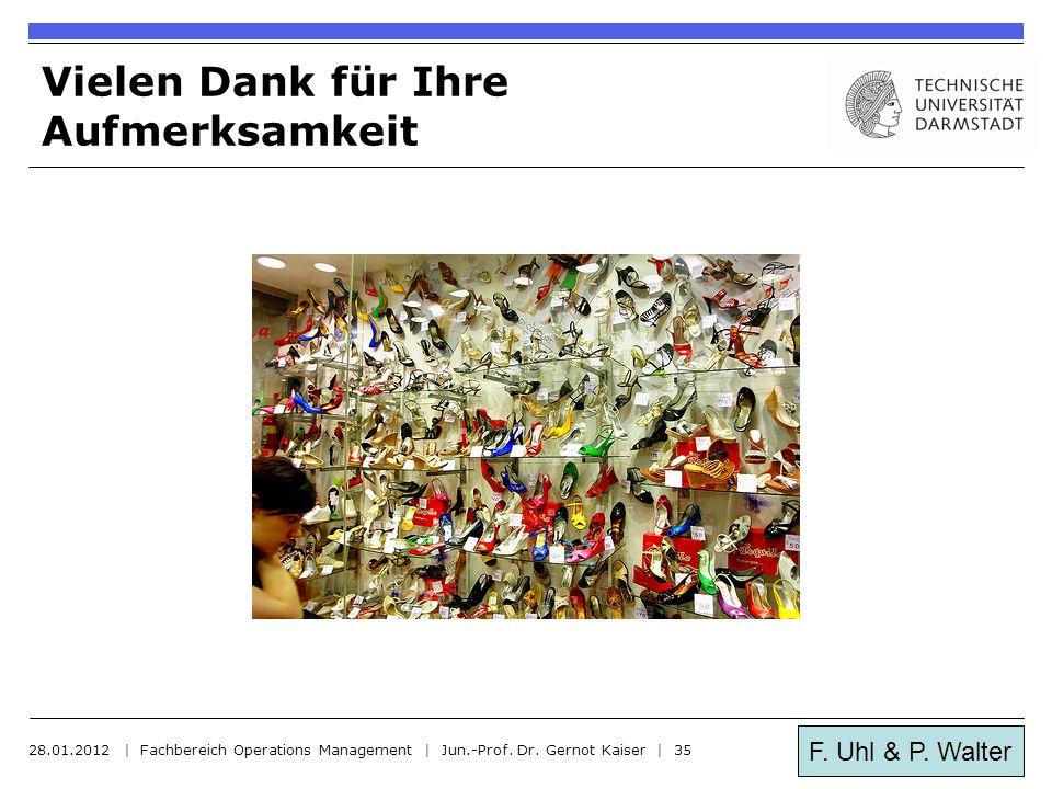 F. Uhl & P. Walter Vielen Dank für Ihre Aufmerksamkeit 28.01.2012 | Fachbereich Operations Management | Jun.-Prof. Dr. Gernot Kaiser | 35