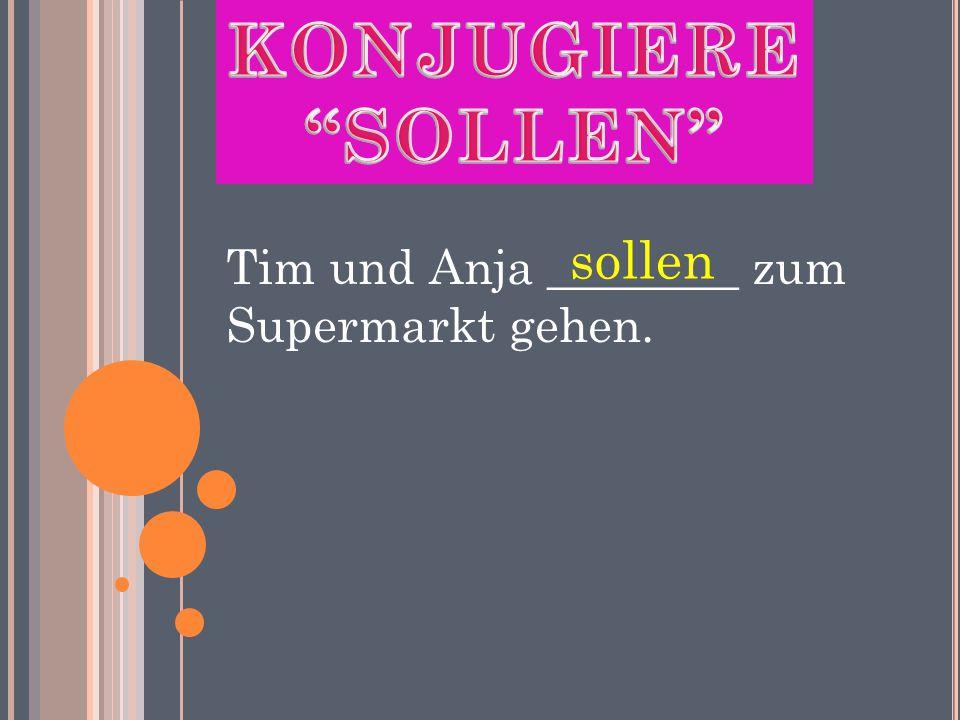 Tim und Anja ________ zum Supermarkt gehen. sollen