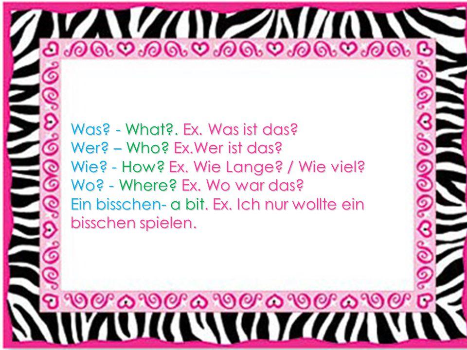Was? - What?. Ex. Was ist das? Wer? – Who? Ex.Wer ist das? Wie? - How? Ex. Wie Lange? / Wie viel? Wo? - Where? Ex. Wo war das? Ein bisschen- a bit. Ex