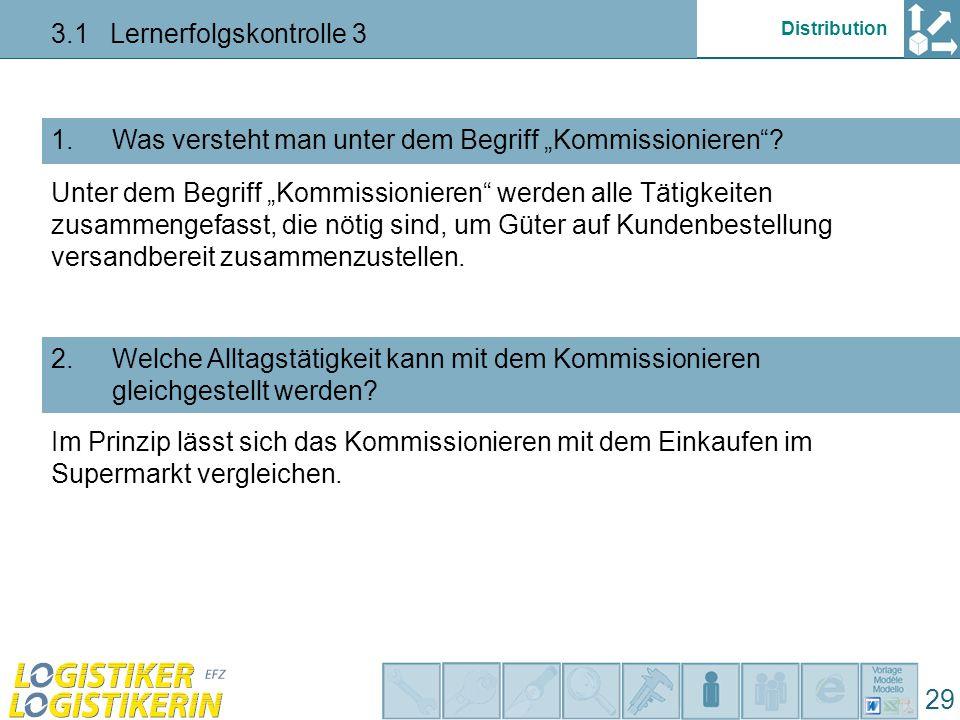 "Distribution 3.1 Lernerfolgskontrolle 3 29 Was heisst ""pick by voice ?3."