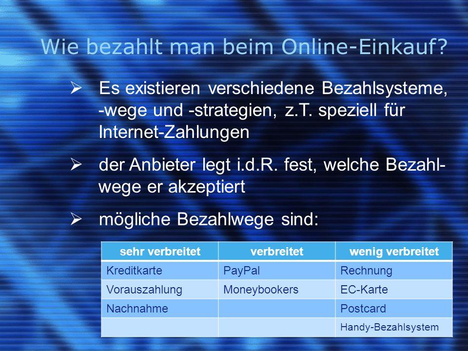 Wie bezahlt man beim Online-Einkauf.