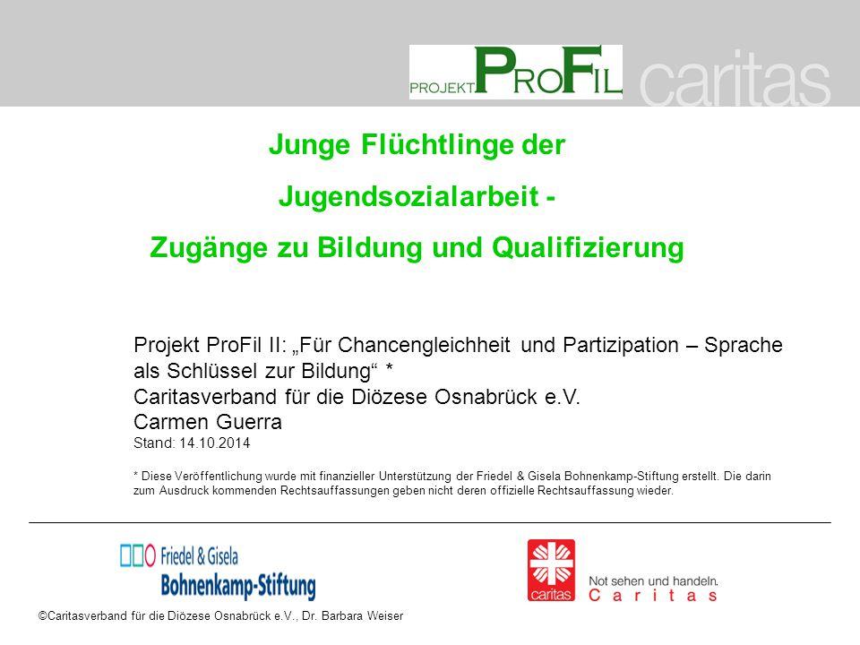 ©Caritasverband für die Diözese Osnabrück e.V., Dr. Barbara Weiser Junge Flüchtlinge der Jugendsozialarbeit - Zugänge zu Bildung und Qualifizierung Pr