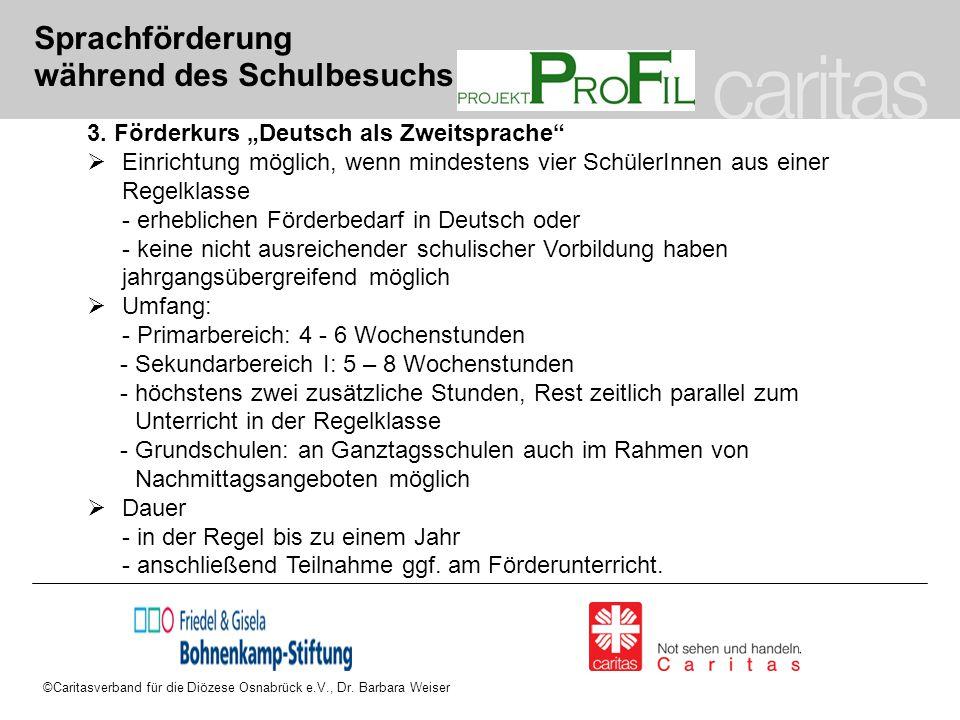 """©Caritasverband für die Diözese Osnabrück e.V., Dr. Barbara Weiser Sprachförderung während des Schulbesuchs 3. Förderkurs """"Deutsch als Zweitsprache"""" """