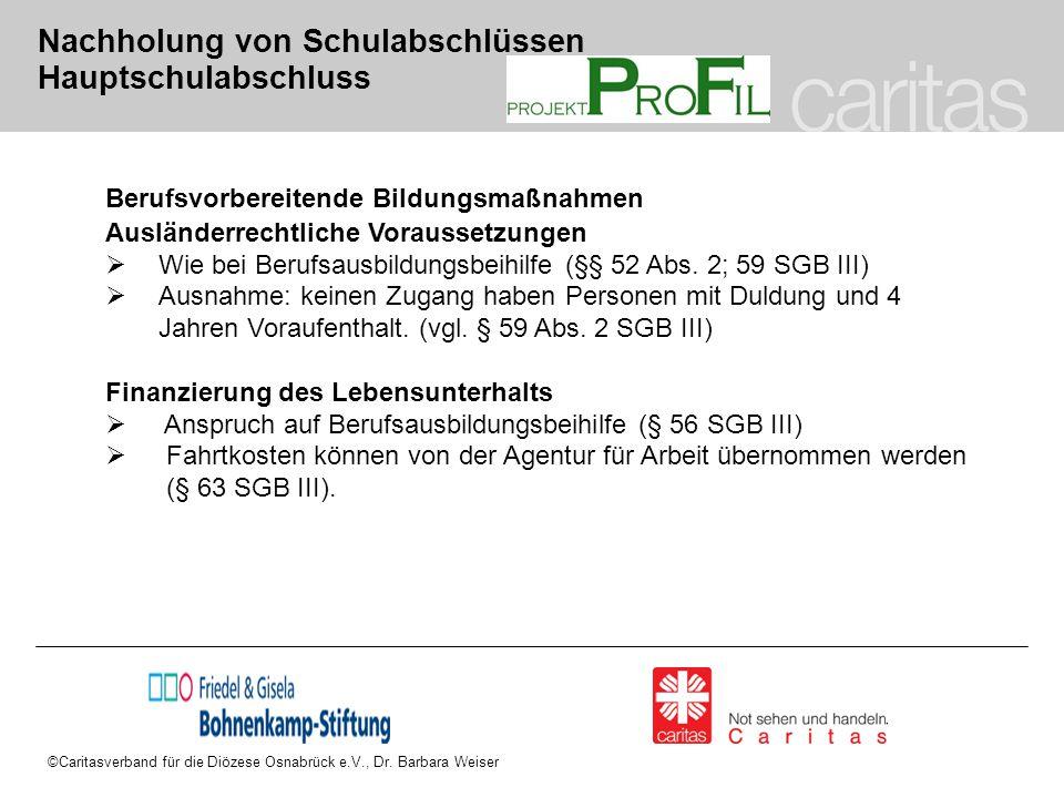 ©Caritasverband für die Diözese Osnabrück e.V., Dr. Barbara Weiser Nachholung von Schulabschlüssen Hauptschulabschluss Berufsvorbereitende Bildungsmaß