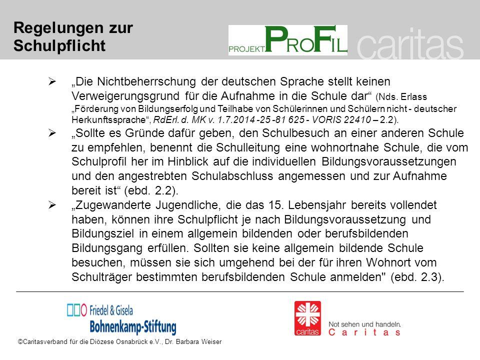 """Regelungen zur Schulpflicht  """"Die Nichtbeherrschung der deutschen Sprache stellt keinen Verweigerungsgrund für die Aufnahme in die Schule dar"""" (Nds."""