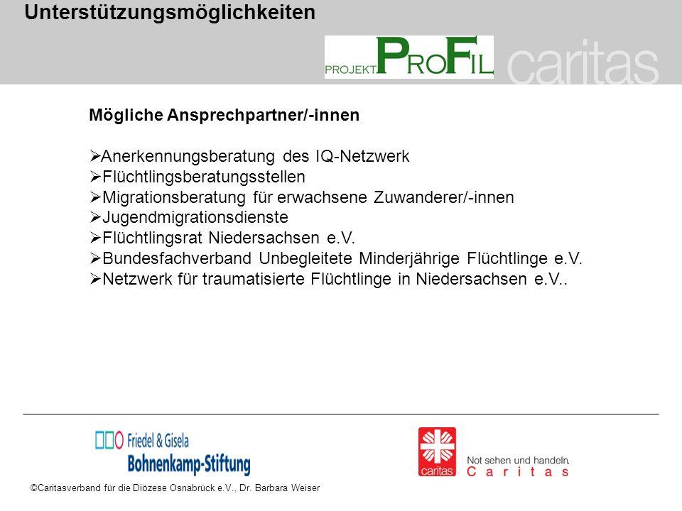 ©Caritasverband für die Diözese Osnabrück e.V., Dr. Barbara Weiser Unterstützungsmöglichkeiten Mögliche Ansprechpartner/-innen  Anerkennungsberatung